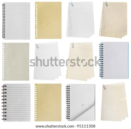 paper page notebook. textured isolated on the white backgrounds. collection - stock photo