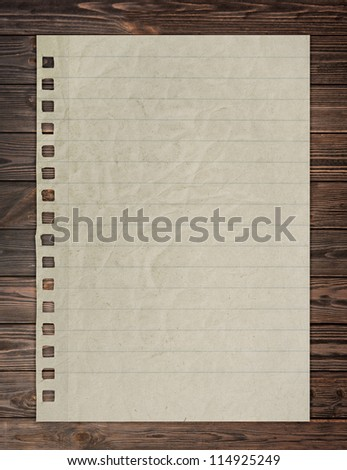 paper page notebook. textured isolated on the wood backgrounds. - stock photo