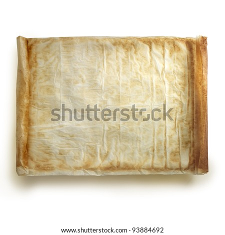 Paper papyrus semblance. Rolled on both sides. Clipping path - stock photo