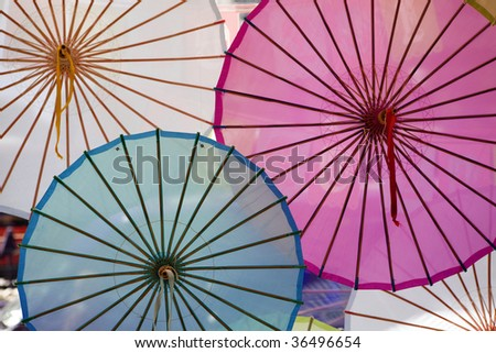 Paper Parasols - stock photo