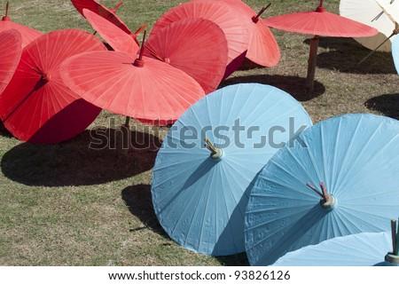 Paper Parasols - stock photo