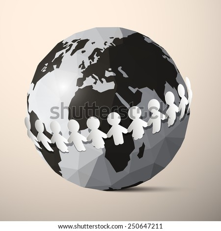 Paper People Holding Hands around Globe - Earth - stock photo