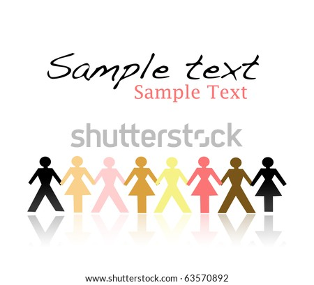 Paper people in different colors holding hand (united culturally diverse population concept) - stock photo