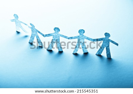 Paper people in teamworking concept  - stock photo
