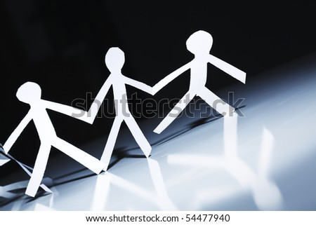 paper people move like united team - stock photo