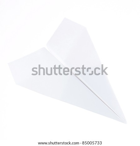 paper plane isolated on white - stock photo