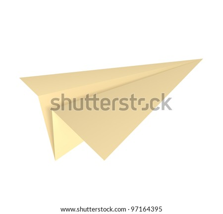 Paper Plane isolated on white - 3d illustration - stock photo