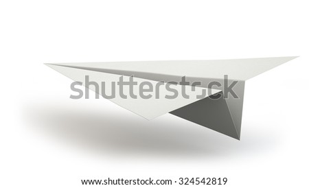 Paper plane landing isolated on white background.