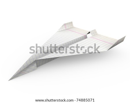 paper plane made with graph paper. 3d render - stock photo