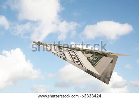 paper plane of one dollar bill - stock photo