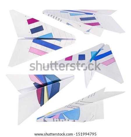 Paper plane set isolated on white - stock photo