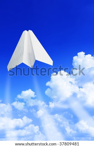Paper plane take off. Sky and clouds in the background - stock photo