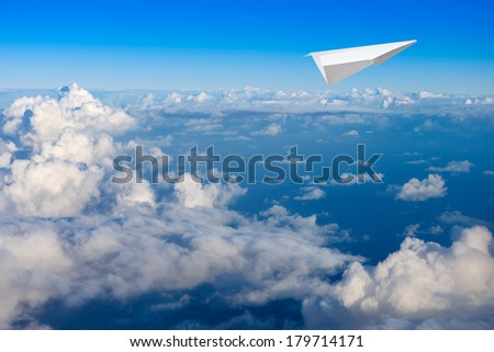 Paper planes and sky background