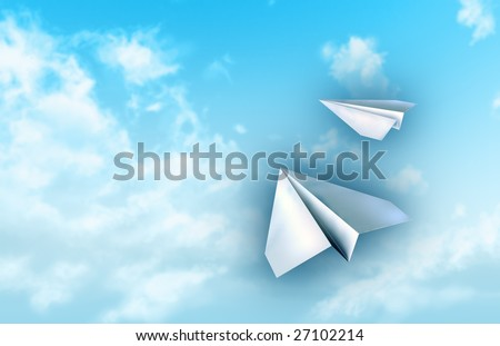 Paper planes flying in a blue sky. Digital illustration.