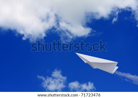 Paper planes in blue sky - stock photo