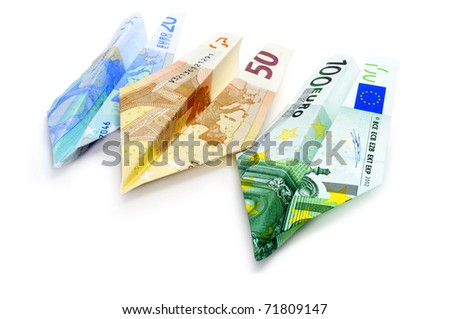 paper planes made with euro bills - stock photo