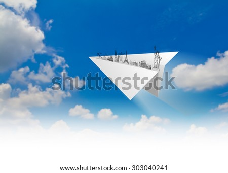 Paper planes of travel  in blue sky   (Japan,France,Italy,New York,India,egypt) - stock photo