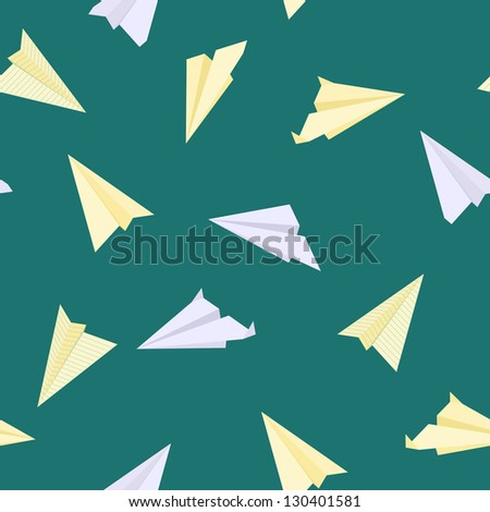 Paper planes seamless texture. Raster version - stock photo
