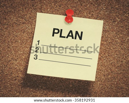 paper planing on the board - stock photo