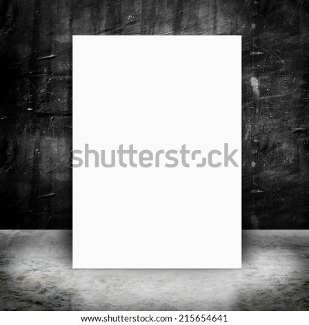 paper poster in Empty Grunge concrete wall and cement floor,concept presentation ,Mock up,business presentation template - stock photo