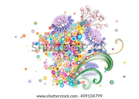 Paper quilling,colorful paper flowers. - stock photo