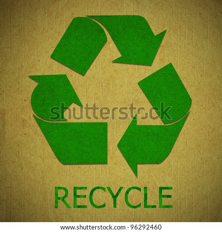 Paper recycled sign on grunge paper texture. Save the world concept. - stock photo