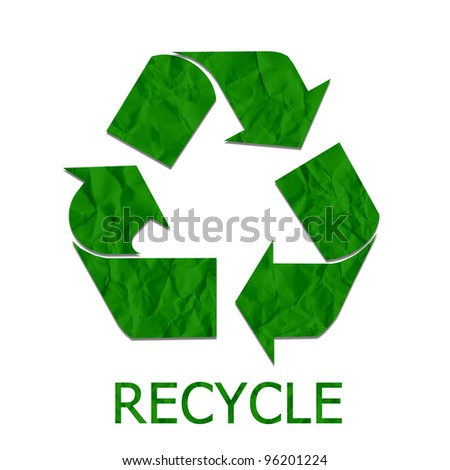 Paper recycled sign, Save the world concept. - stock photo