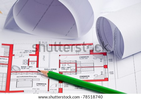 paper roll of a construction plan for a house
