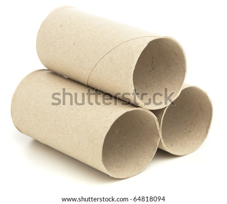 paper roll of bathroom on white abckground - stock photo