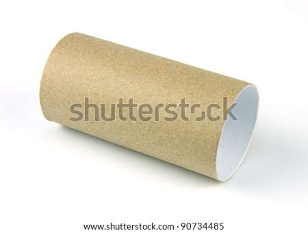 paper roll of bathroom on white background - stock photo