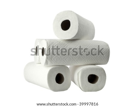 Paper rolls stack - stock photo