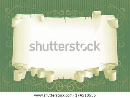 Paper scroll background. Background of paper scroll with plant ornament   - stock photo