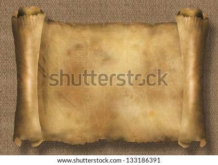 Paper scroll on reed texture - stock photo