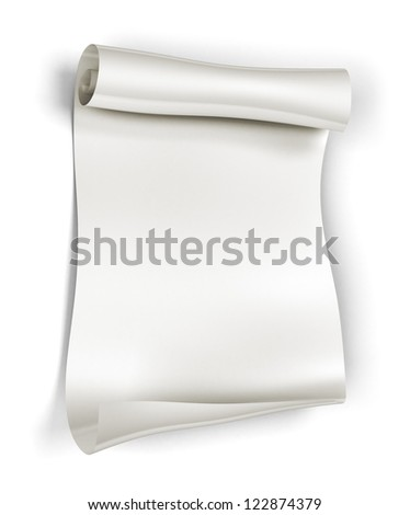 Paper scroll on white background - stock photo