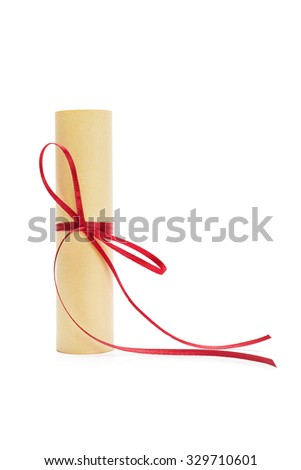 Paper Scroll Tied with Red Ribbon Isolated on White Background - stock photo