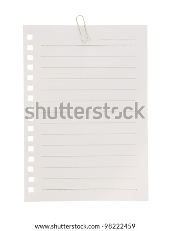 paper sheet and clip on white background - stock photo