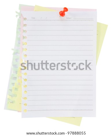 paper sheet and pin on white background - stock photo
