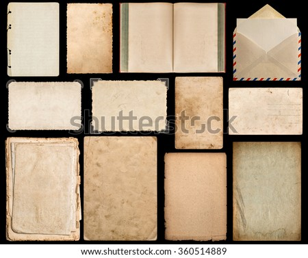 Paper sheet, book, envelope, cardboard, photo frame with corner isolated on black background - stock photo
