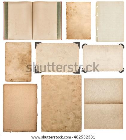 Paper sheet, book, photo frame with corner isolated on white background. Set of scrapbook objects
