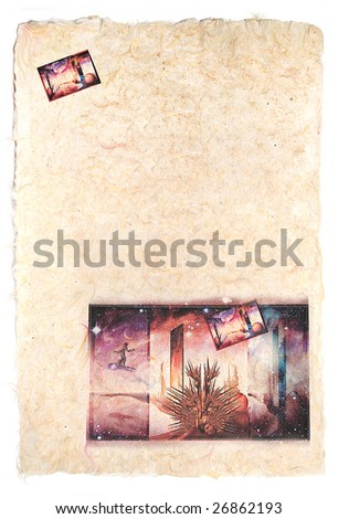 Paper sheet with printed on him modern surrealism picture on a fantastic theme. A paper lies on a white background