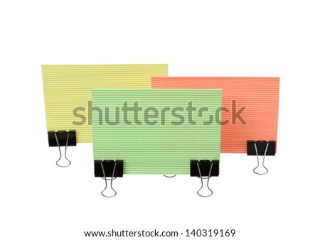 Paper sheets for letter with clip isolated on a white background - stock photo