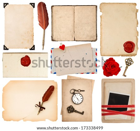 paper sheets for love letters. vintage book pages, cards, photos, pieces, flower isolated on white background - stock photo