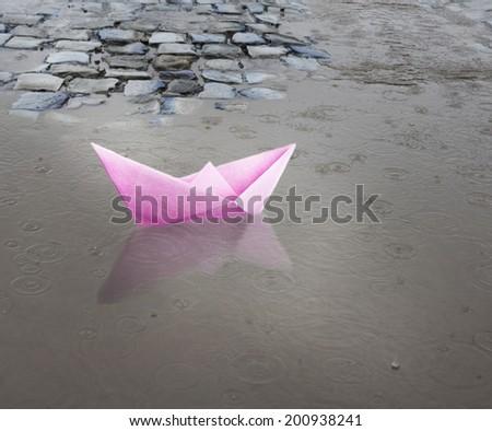 Paper ship. - stock photo