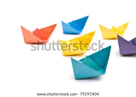paper ships - stock photo