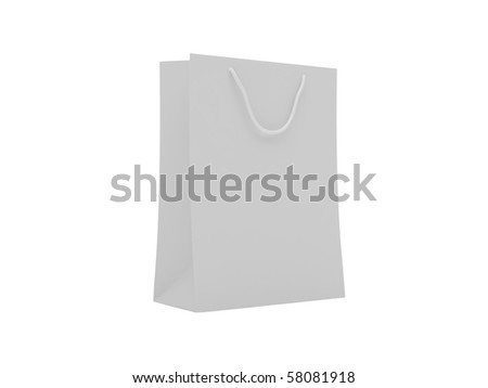 Paper shopping bag. High resolution image. 3d illustration over  white backgrounds.