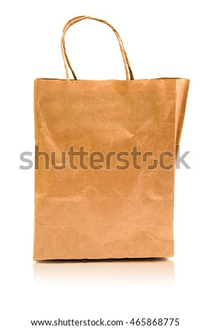 Paper Shopping Bag Isolated on White Background With Reflection