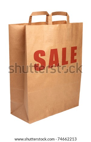 Paper shopping bag with SALE word isolated on white background with clipping path. - stock photo