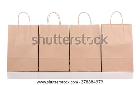 Paper shopping bags close up - stock photo
