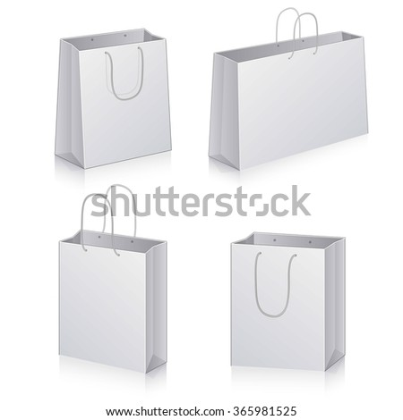 Paper Shopping Bags collection isolated on white background art