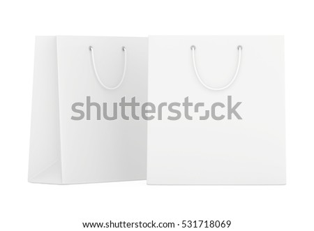 Paper Shopping Bags collection isolated on white background. 3d rendering
